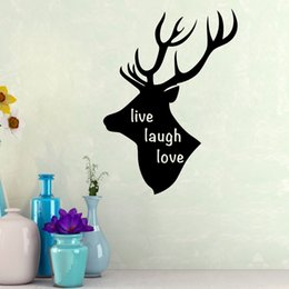 Wholesale Self Sat - Cartoon Live Laugh Love Wall Sticker Animal deer Head Wall Decals for Living Room Sitting Room Decoration