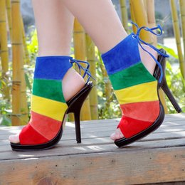 Wholesale Stripes Stilettos High Heels - Buckles Colorful Stripe Thin High Heels Pumps Shoes Woman Open Toe Dress Shoes Gladiator Sandals Women Ladies Sandalias Mujer