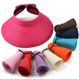 Le signore rotolano i cappelli del sole online-All'ingrosso- 2016 Fashion Style Women Lady pieghevole Roll Up Sun Beach Wide Brim Visiera di paglia Cappello