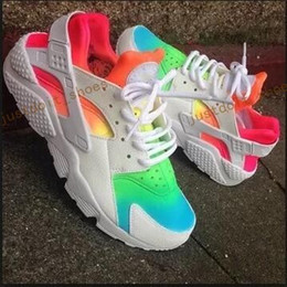 Wholesale Cheap Rainbow Shoes - 2017 Cheap Huarache Running Shoes For Men Women,Woman Mens White Rainbow Air Huaraches Multicolor Sneakers Athletic Trainers 36-46
