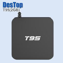 Wholesale Case Youtube - T95 Andorid 6.0 TV BOX Amlogic S905X 2GB 8GB Quad CoreMetal Case 2.4G 5GHz Dual WiFi TV Miracast Sports IPTV BOX
