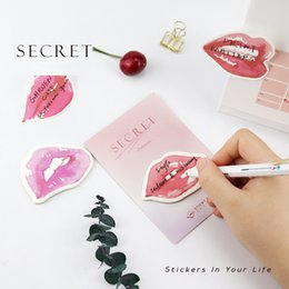Wholesale Planner Stickers - 36pcs Lot Secret Kisses Sticky Notes Lip Stickers Adhesive Memo Note for Diary Planner Stationery Office Accessories School Supplies Postit