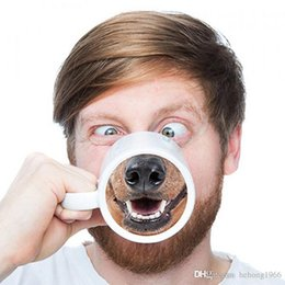funny cups Promo Codes - Cute Ceramic Mugs With Handle Doggy Style Coffee Cup Eco Friendly Kuso Funny Dog Nose Mug Factory Direct Sale 10kq R