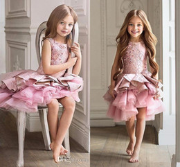 Wholesale Old Gold Beads - 2017 New Arrival A-line Pageant Christmas Pink Tulle Rustic Flower Girl Dress Zipper Draped First Comunion Dress 0-12 Years Old