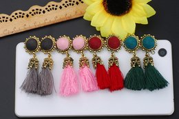 Wholesale Long Silk Tassels - 4 Color Bohemia Vintage Ear Dangle Tassel Earrings Long Silk Ear Drop Handmade Ear Studs Jewelry Wedding Gifts B724L