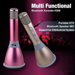 Wholesale Speakers Recording - K068 Karaoke Player Wireless Bluetooth Music Condenser Microphone With Mic Speaker KTV Singing Record For Phones 6 6s 7 7plus Computer