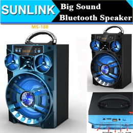 Wholesale Hifi Outdoor Speakers - Big Bluetooth Speaker Sound HiFi Speaker Portable AUX Speakers Bass Wireless Outdoor Music Box With USB LED Light TF FM Radio