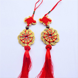 Wholesale feng shui goods - Red Chinese knot FENG SHUI Set Of 10 Lucky Charm Ancient I CHING Coins Prosperity Protection Good Fortune Free Shipping