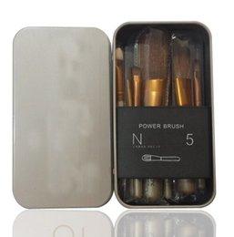Wholesale Wholesale Wooden Tool Boxes - 1 Set=7pcs N5 Makeup Brush kit Sets Power Brushes Cosmetic Brush Wooden Handle Professional Makeup Set Tools Iron Box Portable Makeup Brush