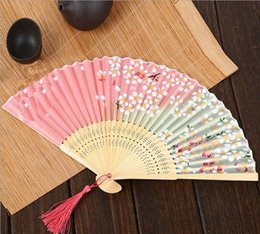 Wholesale Painting Safe - 2017 hot Hand painted silk fan Japanese Cherry Blossom Fan and Japanese Style Folding gift fanArts and CraftsHand drawn silk fan