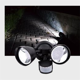 Wholesale Pir Flood - 22LED Solar body Sensor Wall lamp PIR LED Solar power outdoor waterproof Wall Light garden yard light Double Head Landscape Flood Lights