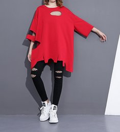 Wholesale T Shirt Irregular - 2017 Summer neckPatchwork T-shirt Fashion New Solid Color Red O- Hole Mesh Korean Irregular Hem Tops Tee Woman Y462
