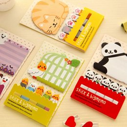 Wholesale Korean Stationery Stickers - Animal Cat Panda Cute Kawaii Sticky Notes Post It Memo Pad School Supplies Planner Stickers Paper Bookmarks Korean Stationery