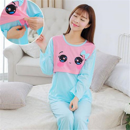 Wholesale Home Clothes For Women - New Plus Size Pregnant Women Sleep Lounge Clothes For Nursing Pajamas Home Wear Suit Maternity Clothing For Breast Feeding