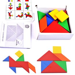 Wholesale Tangram Jigsaws - 32 piece Color Changed DIY Jigsaw Puzzle Jigsaw Toys Wooden Children Educational Toys Baby Play Tive Junior Tangram Learning Set