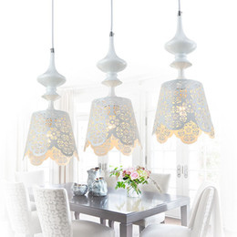 Wholesale Country Living Paint - Country Rustic White Painting Iron Pendant Light American Style Hollow Out Dining Room Romantic Pendant Lamp