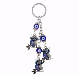 Wholesale Glass Pillar Plates - Wholesale Antique Vintage Silver Owl Charms Keychain Blue Glass Bead Keyring For Women Bag Accessories 2017 New