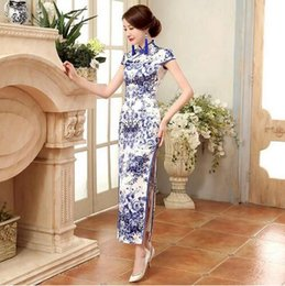 Wholesale Chinese Women Traditional Wedding Dress - 2017 Chinese Traditional Dress Long Cheongsam Dress Oriental Dresses Chinese Wedding Qipao Dress Robe Chinoise Olympics Costumes