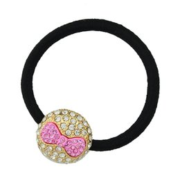 Wholesale Circle Metal Band Hair - New Fashion Black Rope with Big Gold Metal Circle Full of Diamonds and Bow tie Pattern Elastic Hair Band for Women