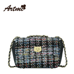 Wholesale cross form - Artmi 2016 autumn new Retro fashion cat form chains of small single shoulder bag case grain woolen women buckle bag