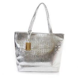 Wholesale Crocodile Leather Big Bag - ag imitation Brand Fashion Casual Women Shoulder Bags Silver Gold Black Crocodile Handbag PU Leather Female Big Tote Bag Ladies Hand Bags...