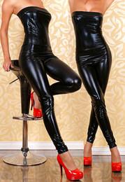 Wholesale Latex Clothes Wholesale - Wholesale- Exclusive Sexy Black Leather Latex Catsuit Strapless Bondage Bodysuit Wetlook Clubwear Jumpsuit Ladygaga Pole Dance Clothes