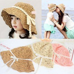 Wholesale Fast Crochet - Family Matching Outfits Lady Mother Kids Boys Girls Matching Summer Bowknot Beach Straw Sun Hat Cap free fast shipping