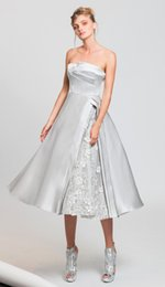 Wholesale White Satin Draped Bust - 2017 tony ward A-line strapless silver evening dresses in satin duchesse with a draped bust and a side slit revealing embroidered tulle