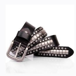 Wholesale Men Punk Fashion Jeans - Hot Sale Fashion Men Punk metal belts Luxury designer Top quality Genuine leather belts man Cow Skin strap Jeans gir big size 110-125CM long