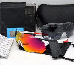 Wholesale Eyewear Bag - Brand ev 3 lens cycling glasses TR90 sunglasses bike glasses eyewear with bag 9 colors free shipping
