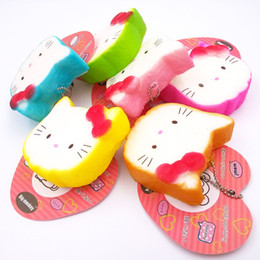 Wholesale Phone Tags - NEW 40pcs Lot, 6CM PU corful Kawaii rare hello kitty Squishy Cell Phone Charm with tag