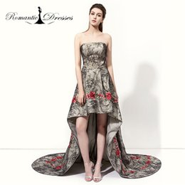 Wholesale Girls Embroidery Skirt - Real Photos Girls Prom Dresses High Low Short Skirt Embroidery Lace Appliques Black Lace Short Evening Dresses