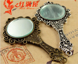 Wholesale Mirror Charm Bracelets - 68*35MM Antique Bronze mirror charm for bracelet, metal dangle vintage silver mirror pendants for necklace, Indian brass copper alloy charms