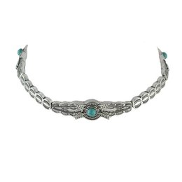 Wholesale Tibetan Chokers - Tibetan Style Fashion Design Silver Plated Metal Choker Necklaces with Turquoise for Women