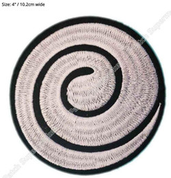 "Wholesale Japanese Cosplay Naruto - 4"" NARUTO WHITE SPIRAL Japanese Anime Movie TV Series Costume Cosplay Embroidered Emblem iron on patch Baseball Cap Badge party favor"