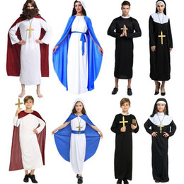 Wholesale black priest - Boys Girls Adults Priest Sister Jesus Clergyman Virgin Mary Cosplay Costume Stage Performance Clothing Halloween Party Supplies