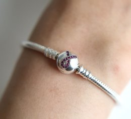 Wholesale Enamel Ribbon Charms - Authentic Original 925 Sterling Silver ribbon Clasp Bangle Bracelet with Red enamel Ribbon Clasp fit pandora Charms DIY Jewelry for Women