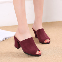 Wholesale Sandals 7cm Heel - 2017 Summer Shoes Hot Sales Lady Open Toe Lady 7cm Heel High Heel Slippers Fashion Woman Clogs Lady Casual Sandals Black Size 35-40 B059