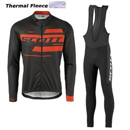 Wholesale Thermal Wear Clothes - 2017 scott winter thermal fleece cycling jerseys long sleeve bicycle mtb bike winter cycling clothing sport kits bicycle men wear AK-82