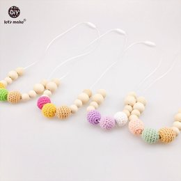 Wholesale Crochet Nursing Necklaces - Let's Make Baby Nursing Necklace 4pcTeething Necklace For Mom Alphabet Dice Chew Wooden Crochet Beads Baby Teething Necklaces