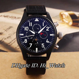 Wholesale Cheap Crystal Buckles - Super Clone Brand Luxury Cheap Pilot's IW379901 Automatic Top Gun Moon Phase Day Date Black Steel Bezel Mens Watch Leather Watches IW-A282A