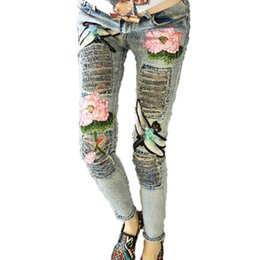 Wholesale Beading Jeans - Wholesale- Floral Pattern 2017 Female Leisure Flowers Embroidered Jeans Denim Trousers C094