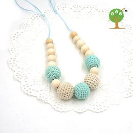 Wholesale Necklaces Crochet - Wholesale-Drop shipping Mint teal cream crochet beads Teething necklace Breastfeeding mom necklace. baby teether shower gift EN14
