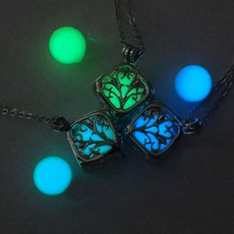 Wholesale Manufacturers Life - Hollow square tree of life luminous beads pendant love magic box luminous light box box necklace manufacturers wholesale