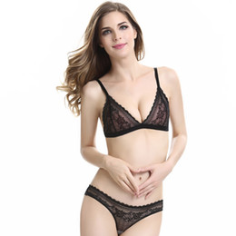 Women's Intimates S72 Women Sexy Lace Triangle Bra Bandage Black Bra Set Tops Floral Briefs Underwear Bra & Brief Sets