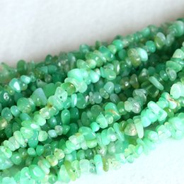 """Wholesale 8mm Green Jade Beads - Wholesale- Genuine Grass Green Chrysoprase Australia Jade Nugget Chip Loose Beads Free Form 3-8mm Fit Jewelry Necklace Bracelets 15"""" 04134"""