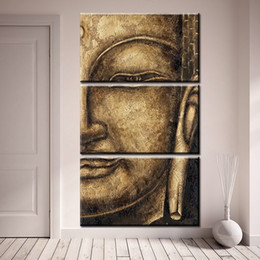 Wholesale Buddha Art Painting - 3pcs set Lengthways Unframed Half Buddha Figure Painting Abstract Oil Painting On Canvas Giclee Wall Art Painting Art Picture For Home Decor