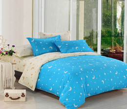 Wholesale Blue Bedding Queen - Wholesale- Printing Bedding Set Moon And Stars Bed Set Duvet Cover Sheet Twin Full Queen Size Bed Linen