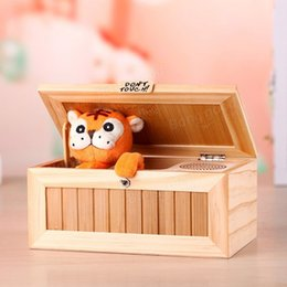 Wholesale Tiger Wood Wholesalers - Upgrade Wooden Electronic Useless Box with Sound Cute Tiger 10 Modes Funny Toy Gift Stress-Reduction Desk Decoration