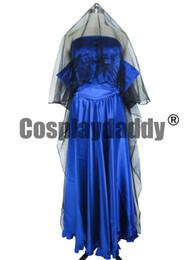 Trajes del diablo azul online-Baile con diablos Ritsuka Tachibana vestido de boda largo azul traje de Cosplay